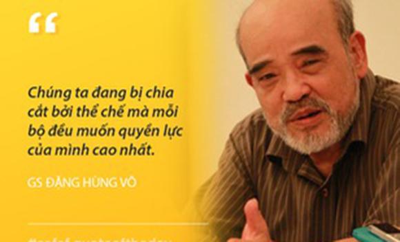 """""""Chúng ta đang bị chia cắt bởi thể chế mà mỗi bộ đều muốn quyền lực của mình cao nhất""""-GS Đặng Hùng Võ"""