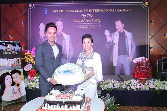 Ceo, hoa hậu Kristine Thảo Lâm diện dạ hội quyến rũ đến chúc mừng Đoàn Thanh Tài