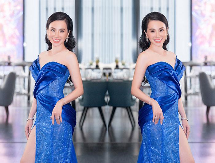 Hoa hậu Đại sứ Qúy bà Hoàn vũ thế giới Châu Ngọc Bích diện váy cắt xẻ gợi cảm