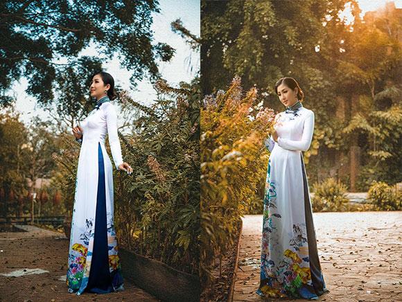 NTK Việt Hùng tôn đường cong phái đẹp trong BST áo dài mới