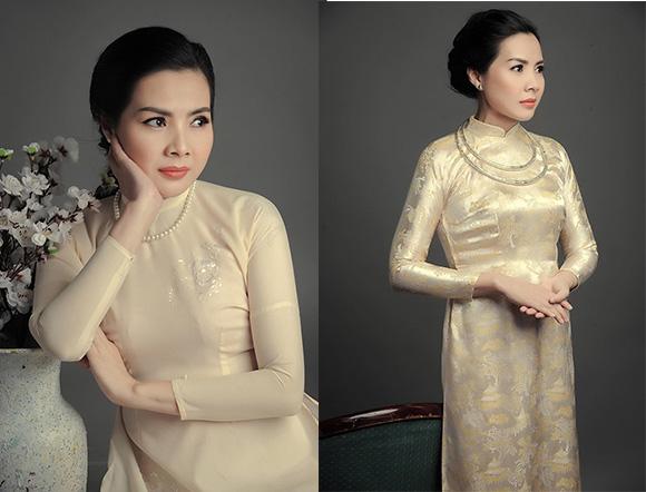 Á quân đại sứ áo dài Ngọc Diễm quý bà sang trọng trong áo dài Việt Hùng.